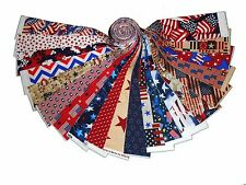 """20 2.5"""" Quilting Fabric Jelly Roll Strips Patriotic Red White & Blue ! #1"""