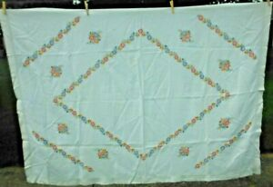 Vintage Handmade Floral Embroidered TABLECLOTH Linen Mix 50 x 74