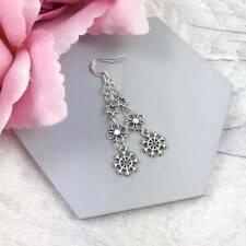 Small Silver Snowflake Earrings, Dainty Christmas Earrings, Long Earrings