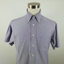 Surrey Mens Single Needle Short Sleeve Button Down Light Blue Dress Shirt 16 1/2
