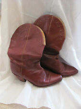 Ottorino Bossi Italy Brown Leather Short Riding Cowboy Calf Boots Size 7-1/2
