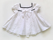 Janie and Jack girls size 4 white A-line top with bow and navy trim EUC