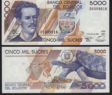 Ecuador 5,000 5000 sucres 1999 como nuevo UNC Pick 128