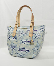 Brahmin Small Willa Tote/Shoulder Bag in Sky Copa Cabana. Palm Trees & Wagons