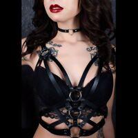 Women Leather Body Harness Waist Belt Punk Gothic Bra Bondage Chest Strap