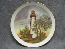 """Porcelain 9.25"""" Decor Plate Lighthouse w/ Seagulls Hejd Ceramics Conneaut Ohio"""