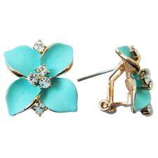 Navachi Light Blue Enamel Leaves 18K GP Rhinestone Crystal Buckle Earrings B1839