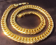 MEN HEAVY 12mm WIDE 24K SOLID GOLD FINISH MIAMI CUBAN LINK CHAIN NECKLACE 24INCH