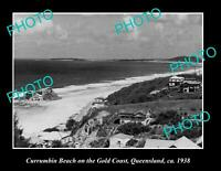 OLD POSTCARD SIZE PHOTO OF CURRUMBIN BEACH ON THE GOLD COAST QLD c1938