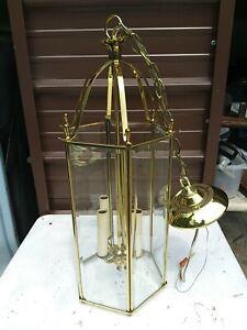 "Brass, Beveled Glass Chandelier Hanging Foyer Lamp, Lantern, Lighting 22x10"""
