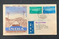 1951 India 5 Stamps Fdc ! Registered & Air Labels > England ! First Day Cover !