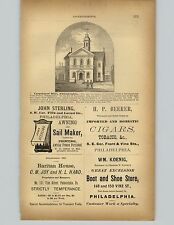 1878 Paper AD John Sterling Sail Maker Awnings Philadelphia Beerer Cigars