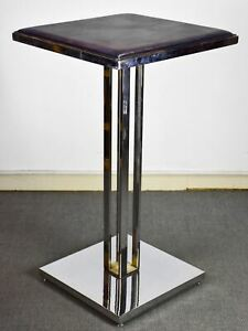 Vintage high bar table - square leather top