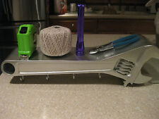 EXTRA LARGE SILVER 3-D ADJUSTABLE WRENCH HAT COAT RACK SHELF COMBO