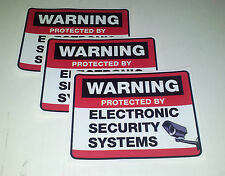 Set of 3 SECURITY PROTECTION AND SURVEILLANCE WARNING STICKERS windows/doors