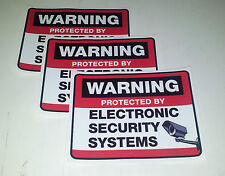 SECURITY CAMERA AND SURVEILLANCE WARNING STICKERS set of 3 for windows/doors