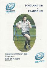 Écosse V France (de moins de 21) 20 mar 2004 RUGBY programme à Inverness