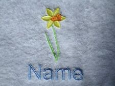 DAFFODIL and Personalised Name Embroidered onto Towels Bath Robes Hooded Towel