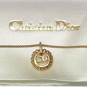 CHRISTIAN DIOR CD Logo Vintage Necklace Pendant Chain Gold color Dead stock