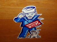 """VINTAGE CRACKER JACK SAILOR BOY & DOG 11 3/4"""" METAL PRIZE NUT GUM GASOLINE SIGN!"""