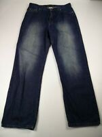 MENS GUESS W34 L31 MID BLUE WASH DENIM REGULAR LOOSE FIT ZIP FLY JEANS TROUSERS