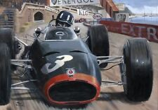 Litho 1965 Monaco GP winner BRM P261 #3 Graham Hill by Toon Nagtegaal OE