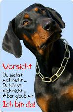 DOBERMANN - A4 Metall Warnschild SCHILD Hundeschild Alu Türschild - DBM 28 T2