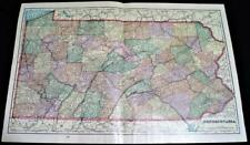 STATE OF PENNSYLVANIA ATLAS MAP PAGE PLATE 1908 VINTAGE GEORGE F. CRAM