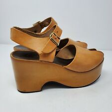 Authentic 1970s Vtg Leather Platform Peeptoe Sandals Hippy Boho Shoes Sz 7 Italy