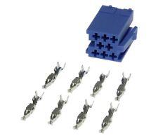 Mini Iso Stecker blau 8pol + Kontakte Adapter für Blaupunkt VW VDO