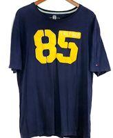 Tommy Hilfiger Mens XL 85 Spell Out Retro Short Sleeve Navy T-Shirt Tee Shirt