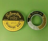 Vintage Lot of 2 Silvertone Recording Wire Reels Canister Sears Roebuck and Co