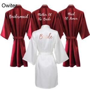 Women Burgundy Bride Robe Satin Silk Robes Wedding Bridal Bridesmaid Robes