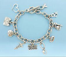 Nurse Charm Bracelet Caduceus Stethoscope Silver Charms Nurse Gift