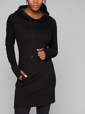 ATHLETA WOMEN'S BLACK THUMBHOLES LONG SLEEVE HAYES HOODIE DRESS Sz XS