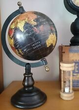 Vintage Style 25cm High Black Spinning World Globe Map Earth Metal Timber Stand