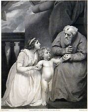 SAMUEL PRESENTED TO ELI 1796 William Bromley - John Opie ANTIQUE ETCHING