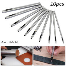 10pc Steel Hole Hollow Punch Set 0.5mm-5mm Leather Heavy Duty Belt Craft Metal 1