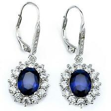 Geniune Sterling Silver Oval Sapphire CZ Leverback Drop Dangle Earrings Jewelry
