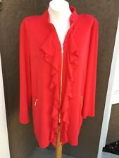 New $109 Chico's Travelers Chinese Red Ruffle Zip-Up Jacket Sz 3 = XL 16 18 NWT