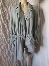 "Ivan Grundahl washed grey linen avantgarde coat, over plus size 42, pits 75"""