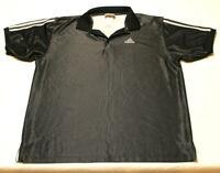 adidas Mens Short Sleeve Golf Polo Shirt Size Large Black shiny