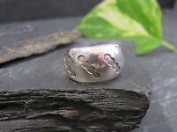 Breiter 925 Silber Ring Klein Schlicht Muster Symbole Kreise Klassiker Unisex
