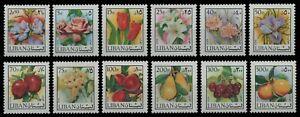 Libanon 1973 - Mi-Nr. 1155-1166 ** - MNH - Blumen / Flowers - Früchte / Fruits