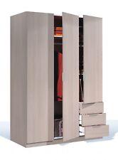 Lina Light Oak Modern 3 Door 3 Drawer Combi Wardrobe + Hanging Rail + Shelf
