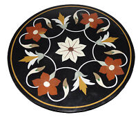 """24"""" Marble Round Coffee Table Top Carnelian Mosaic Floral Inlay Patio Decor H769"""