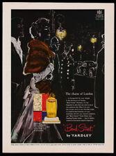 Yardley Bond Street perfume print ad 1951 art - woman in fur on street
