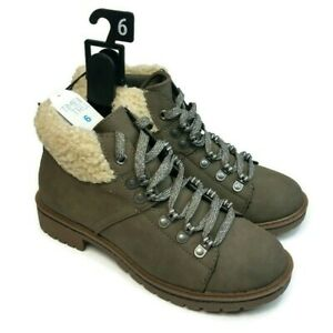 Time And Tru Women's Brown Memory Foam Lace-up Wool Trim Ankle Hiker Boot Size 6