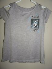 NWT JUSTICE SIZE 7 GIRLS COLD SHOULDER SEQUIN POCKET TOP TEE GRAY BLUE DOG NEW