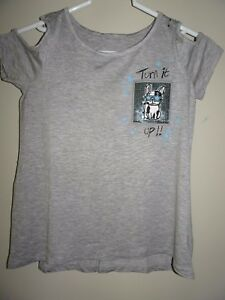 NWT JUSTICE SIZE 8 GIRLS COLD SHOULDER SEQUIN POCKET TOP TEE GRAY BLUE DOG NEW
